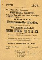 Centennielle Ball, Universal Societie of Sycamore Invitation