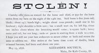 Notice of the Theft of Alexander Southun's Horse