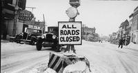 Roads Closed Sign, Looking West on Lincoln Highway