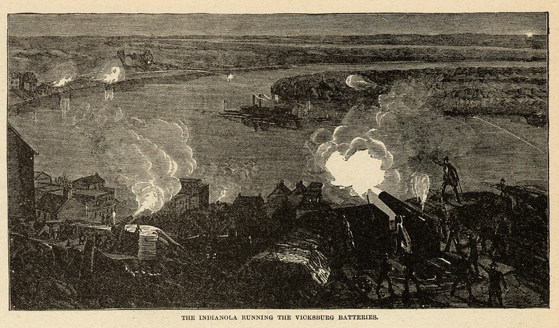 Union warship Indianola running Confederate batteries at Vicksburg, MS