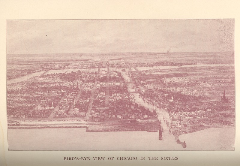 Bird's eye view of Chicago in the 1860s