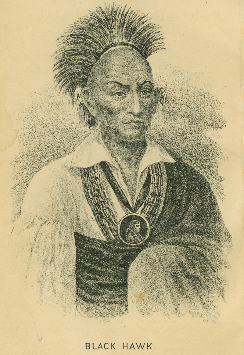 Black Hawk, War Chief of the Sac and Fox tribes, circa 1832.