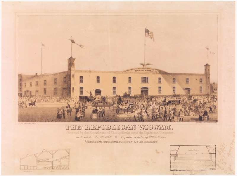 The Wig-wam, the Chicago structure in which the 1860 Republican National Convention was held.