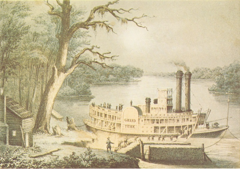 Antebellum image of steamboat.
