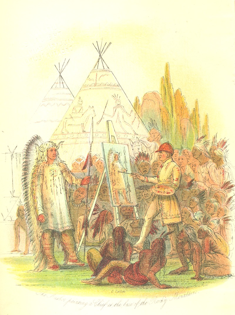 George Catlin Painting a Native American's Portrait