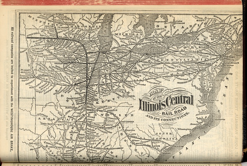 Illinois Central Railroad Map, 1871