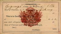 Broadside and certificates (1899, no date)