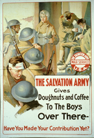 The Salvation Army gives doughnuts and coffee to the boys over there...
