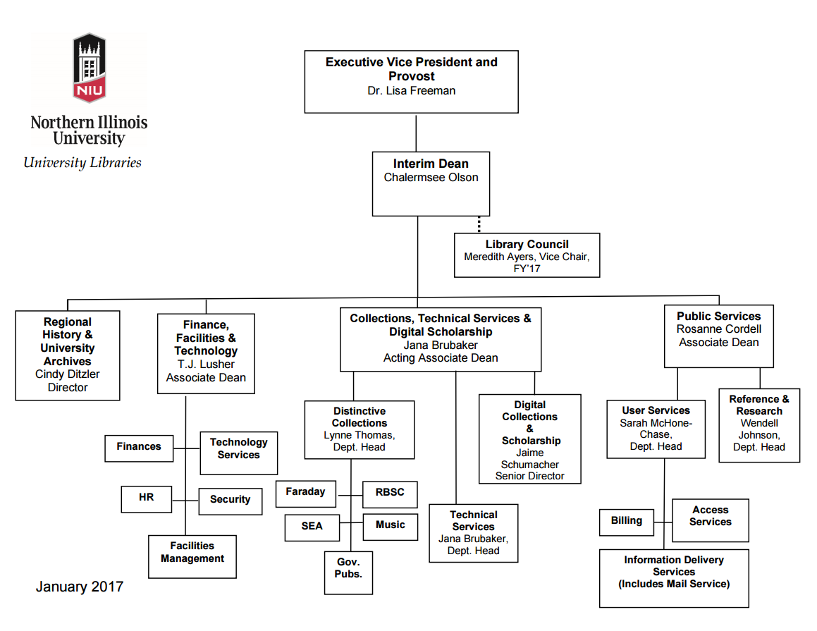 NIU Libraries organizational chart